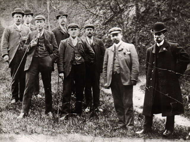 Group of men outside